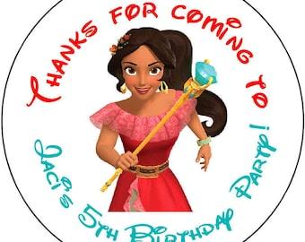 24 PRINTED princess avalor elena Theme Birthday Party Stickers 1.67 inch Round Personalized kids
