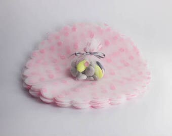 Tulle circles polka dots for sachets favors x 10