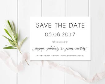 Wedding Save the Date, Black and White, Printable or Professionally Printed, Calligraphy, Lovely Romance Suite, Free Colour Changes