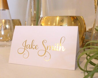 Foil Wedding Place Cards, Gold Foil, Rose Gold Foil, Silver Foil, Customised Fonts, Folded Placecards, Foil Name Cards, Peach Perfect