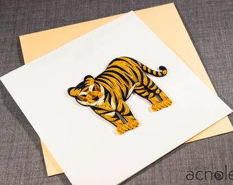 Quilled Tiger Animal Card