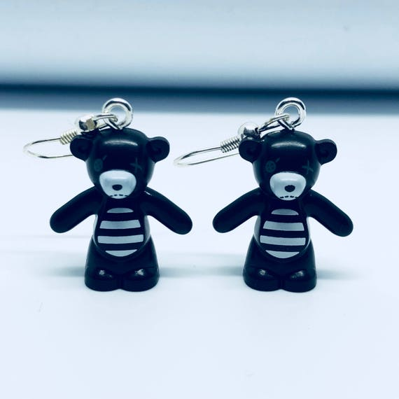 Lego Black Teddy Bear Dropdown Earrings