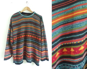 40%offAug15-17 mens striped cotton sweater colorful geometric sweater 90s northern isles nordic sweater 1990s chunky knit rainbow sweater me
