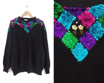 80s sequin sweater black knit ramie cotton sweater colorful sequins dolman sleeve sweater womens jumper plus size sweater 22W
