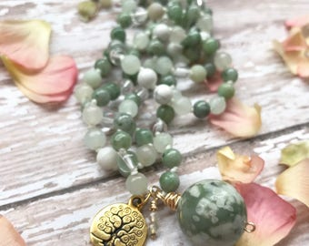 Mother Earth Hand Knotted Jasper Beaded Necklace with Peace Jasper Wire Wrapped Pendant