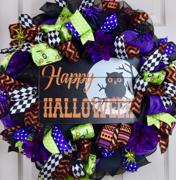 Happy Halloween Black Purple Orange and Green Mesh Wreath with Glitter Spiders; Large Halloween Fall Decor Wreath Purple Spider Door Decor