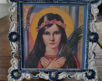 Saint Philomena picture in vintage frame....metal frame....blue and white....faux pearls
