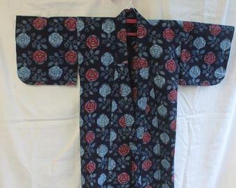 Indigo Rose cotton kimono