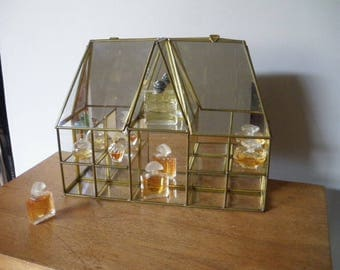 Display / locker in brass and glass / window /Vintage brass and glass display boxes / home decor / collectible