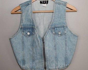 SALE 80s 90s Stonewashed Denim Jean  Vest Club Kid Rave Festival Cropped  M 38 Chest Zipper