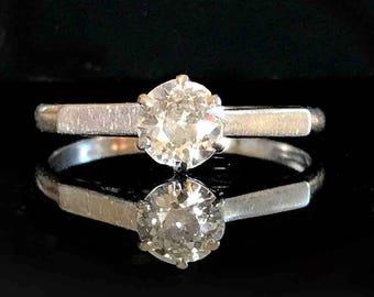 Fine, Art Deco Platinum PT950 Diamond solitaire 0.50ct engagement ring, C1920
