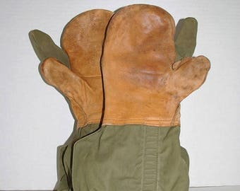 On Sale Vintage Military Trigger Finger Mittens Canvas-Leather Palm Shells & Knit Liners Size L 1952 Free US Standard Shipping