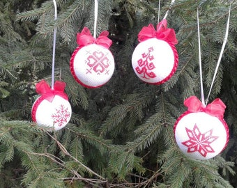 Christmas Ornaments, christmas decoration, embroidered christmas tree decor,  Christmas balls, christmas gifts, new year ball
