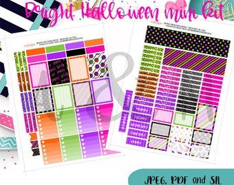 Bright Halloween Mini kit   - Printable Planner stickers, Halloween Planner stickers, Erin Condren, Happy Planner