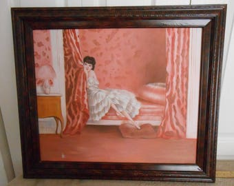 "Signed boudoir/dressing room oil sepia colors framed painting--29"" x 25 1/2"""