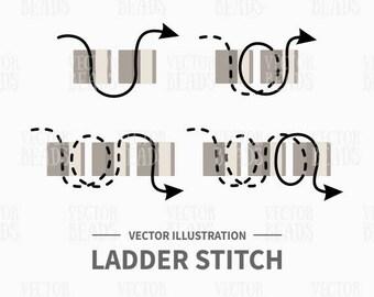 Vector Illustration of Ladder Stitch