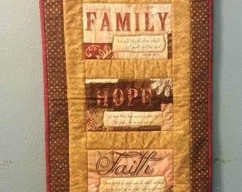 Family, Hope, Faith Quilted Wall Hanging
