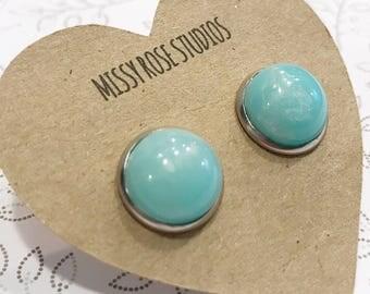 domed earring, blue galaxy earrings, large stud earrings, 12mm earrings, faux plugs, stainless steel earrings, jewelry earrings
