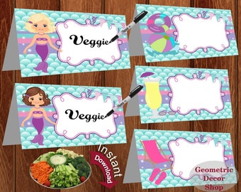 INSTANT DOWNLOAD Food Tent Labels Pool Party Birthday Buffet Name Mermaid Dinner Instant Download Blonde and Brunette Mermaid FTPool2