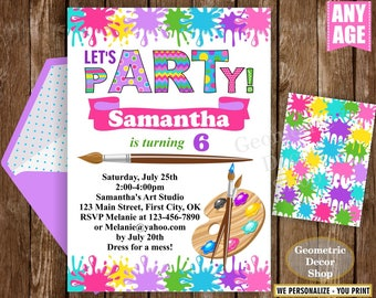 Painting Party Invitation, Art Party Invitation, Art Birthday Party Invitation, Art Themed Party, Paint Party Invites, Painting Party Paint4