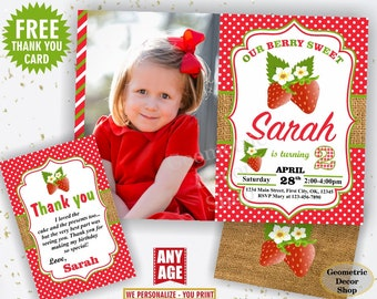 Strawberry Birthday Invite Strawberry Invites Berry Sweet Invitations Girl First Invitation One Red Plaid Rustic Photo Photograph BDS7