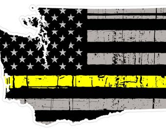 Washington State (E47) Thin Yellow Line Dispatch Vinyl Decal Sticker Car/Truck Laptop/Netbook Window