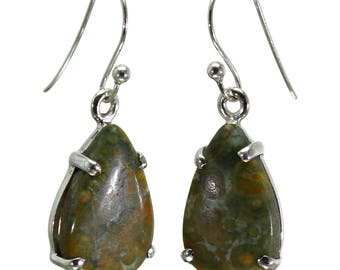 Rhyolite Earrings, 925 Sterling Silver, Unique only 1 piece available! color green, weight 3.7g, #29055