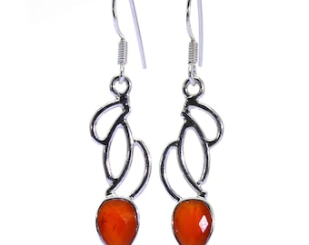 Carnelian Earrings, 925 Sterling Silver, Unique only 1 piece available! color orange, weight 4.7g, #38561