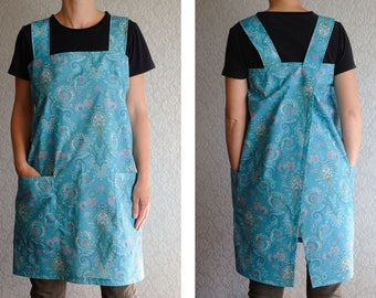 Gift for wife Gift for Women apron Square Cross Back Apron Japanese apron Full apron Pinafore Apron No tie apron Cotton apron with pockets