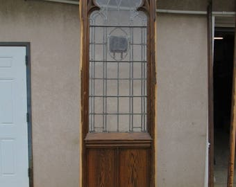 XL Antique Victorian Gothic Tiger Oak Church Lead Glass Window Door Partition D