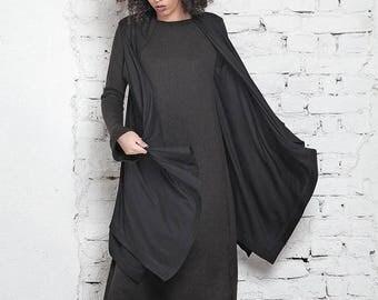 SALE Kimono Cover Up/ Oversized Vest/ Loose Vest/ Long Vest/ Plus Size Cape/ Hooded Vest/ Maxi Vest/ Casual Vest/ Black Cover Up/ Extravagan