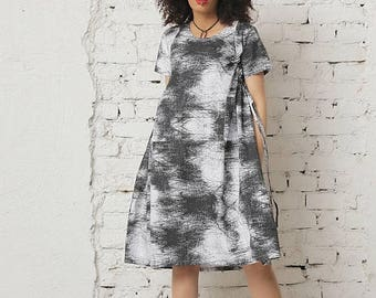 SALE Black Midi Dress, Summer Dress, Designer Dress, Short Sleeved Dress, Steampunk Dress, Plus Size Clothing, Cotton Dress, Party Dress