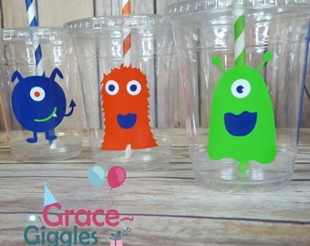 12 Monster Themed Party Cups with Straws and Lids