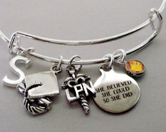 "Personalized  LPN Nurse   / Graduation ""She Believed She Could So She Did"" Bangle W/ Birthstone - Initial - College Gifts / Under  30 C1"