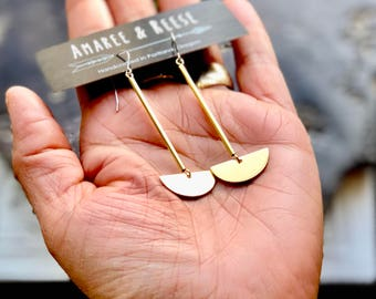 CLOSEOUT Minimalist Brass Half Circle Charm Drop & Dangle