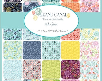 "GRAND CANAL - 5"" Charm Pack by Kate Spain for Moda Fabrics - (42) 5"" x 5"" Squares - 27255PP"