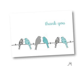thank you cards  | custom stationery | personalized gift | blue birds on a line