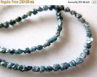 "ON SALE 50% 4"" Blue Diamond Beads, Raw Long Diamonds, Conflict Free Diamond, Rough Diamond Tumbles 2mm To 4mm Beads"