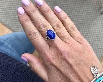 Sterling Silver Lapis Lazuli Ring/Lapis Lazuli Gemstone/Blue Gemstone/Oval Gemstone/Sterling Silver Ring/Adjustable Ring/Silver Ring/Gift/UK