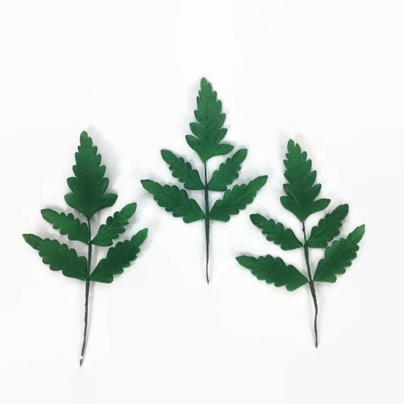 Large Fern Leaves set of 3 green sugar leaves, Gumpaste Wedding Cake Topper, Foliage and Flower Arrangements, Greenery, Woodland wedding