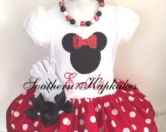 Red Minnie Mouse Dress Inspired Polka 2pc. Dot Twirl Bow Custom All Sizes Birthday , Red Minnie Dress