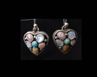Sterling Silver & Gemstone Heart Earrings by BARSE