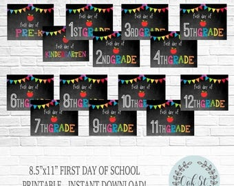 50% OFF INSTANT DOWNLOAD First Day of School Printable, School Printable, Grade Printable