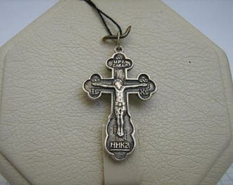 SOLID 925 Sterling Silver CROSS Pendant Jesus Crucifix Darkened Oxidized Russian Inscription Prayer to the Venerable Cross Christian Jewelry