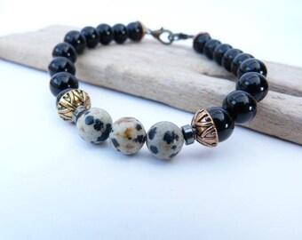 Men bracelet genuine damacien Jasper and onyx beads.