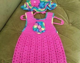 Baby Sundress with Matching Hat Sz 9-12 mos