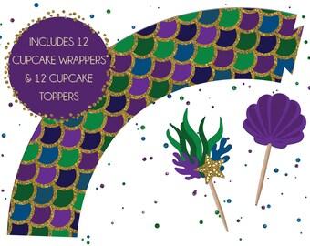 Mermaid Cupcake Wrapper & Topper Set | Underwater Party Cupcakes | Mermaid Birthday Toppers | Siren Party Cupcake Toppers | Mermaid Decor