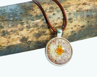 Light purple wild real flower in pendant