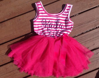 Personalized Tutu Princess Dress - Fuchsia and Purple