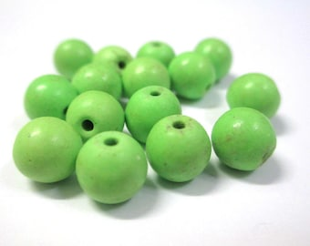 10 Green 8mm synthetic turquoise beads